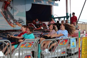 Kids on roller coaster